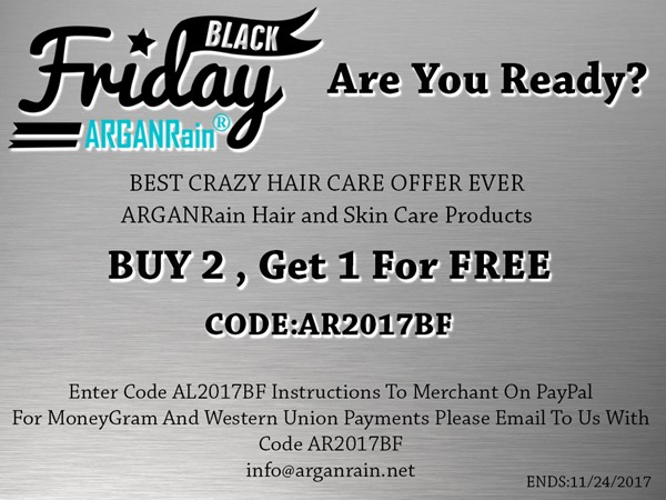 Special Offer from ARGANRain – Black Friday 2017